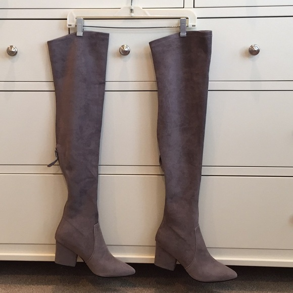 67a905a69bb Taupe Over-the-Knee Suede Leather Boots